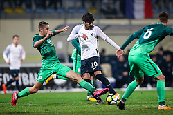 Milan Tucic of Slovenia and Martin Terrier of France during football match between Slovenia and France in Qualifying round for European Under-21 Championship 2019, on November 13, 2017 in Sportni park, Domzale, Slovenia. Photo by Morgan Kristan / Sportida