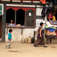 Asia, Bhutan, Wengdue. Market street scene in the village of Wengdue, Bhutan.