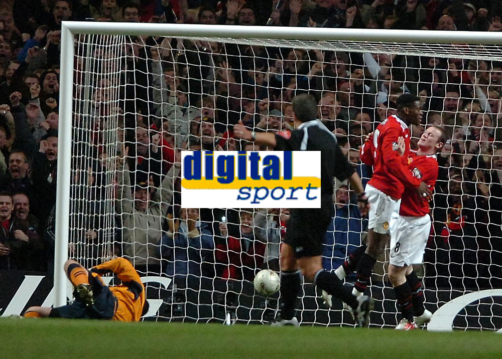 Photo: Ed Godden.<br /> Manchester United v Wigan Athletic. The Carling Cup Final. 26/02/2006. Louis Saha and Wayne Rooney celebrate, after Saha's goal.