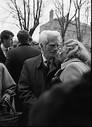Funeral Of Sean McBride.   (R71)..1988..18.01.1988..01.18.1988..18th January 1988..Today saw the Funeral of Seán McBride.Seán MacBride was an Irish government minister, a prominent international politician and a former Chief of Staff of the IRA. His funeral took place from the Pro-Cathedral in Dublin to the family plot in Glasnevin Cemetery, Dublin.The Chief mourners were Tiernan McBride,son, Anna White,daughter and Declan White, son in law...Family and friends of the late Seán McBride are pictured outside the Pro-Cathedral after his funeral mass.