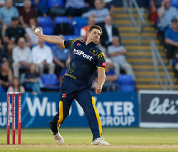 Glamorgan's Craig Meschede bowls<br /> <br /> Photographer Simon King/Replay Images<br /> <br /> Vitality Blast T20 - Round 8 - Glamorgan v Gloucestershire - Friday 3rd August 2018 - Sophia Gardens - Cardiff<br /> <br /> World Copyright © Replay Images . All rights reserved. info@replayimages.co.uk - http://replayimages.co.uk