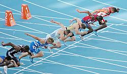 LEICHTATHLETIK: EM 2010, 100m, Barcelona, 27.07.2010<br />Start (v.l.): Arman Andreasyan (ARM), James Dasaolu (GBR), oni Rautanen (FIN), Gregor Kokalovic (SLO), Christian Blum (GER), Jaysuma Saidy Ndure (NOR) und Ryan MOSELEY (AUT)<br />© pixathlon<br />AUT-NED-FRA OUT !