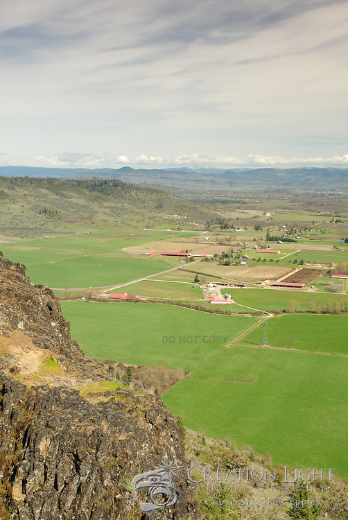 The Rogue Valley from Lower Table Rock which is one of two prominent volcanic plateaus located just north of the Rogue River in Jackson County, Oregon. Shaped by erosion, they now stand about 800 feet (240 m) above the surrounding Rogue Valley.