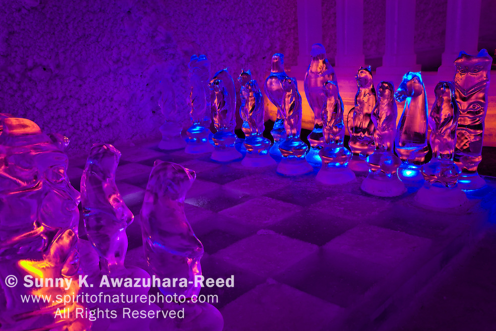 "Alaskan themed ice chess set in Aurora Ice ""Hotel"" Museum, Chena Hot Springs Resort, Fairbanks, Interior Alaska."