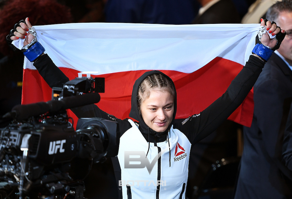 NEW YORK, NY - NOVEMBER 12: Karolina Kowalkiewicz of Poland heads to the octagon prior to her bout against Joanna Jedrzejczyk of Poland (not pictured) in their women's strawweight championship bout during the UFC 205 event at Madison Square Garden on November 12, 2016 in New York City.  (Photo by Jeff Bottari/Zuffa LLC/Zuffa LLC via Getty Images)