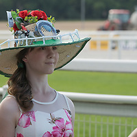 Woman wears a self made hat at a hat fashion contest held at Hungarian horse race derby in Budapest, Hungary on July 4, 2021. ATTILA VOLGYI
