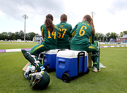 South Africa's Laura Wolvaardt (left), Lizelle Lee and Andrie Steyn wait to bat ahead of the 3rd One Day International at the Spitfire Ground, Canterbury.