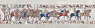 Bayeux Tapestry scene 48 :  Duke Williams Norman cavalry advance on Harols Saxons. BYX48 .<br /> <br /> If you prefer you can also buy from our ALAMY PHOTO LIBRARY  Collection visit : https://www.alamy.com/portfolio/paul-williams-funkystock/bayeux-tapestry-medieval-art.html  if you know the scene number you want enter BXY followed bt the scene no into the SEARCH WITHIN GALLERY box  i.e BYX 22 for scene 22)<br /> <br />  Visit our MEDIEVAL ART PHOTO COLLECTIONS for more   photos  to download or buy as prints https://funkystock.photoshelter.com/gallery-collection/Medieval-Middle-Ages-Art-Artefacts-Antiquities-Pictures-Images-of/C0000YpKXiAHnG2k