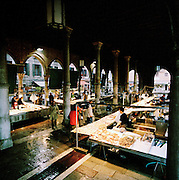 A fish market at Campo della Pescheria, Venice, Italy
