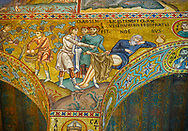 Medieval Byzantine style mosaics of Bible story of Noah, the Palatine Chapel, Cappella Palatina, Palermo, Italy .<br /> <br /> If you prefer you can also buy from our ALAMY PHOTO LIBRARY  Collection visit : https://www.alamy.com/portfolio/paul-williams-funkystock/byzantine-art-antiquities.html . Type -    Palatine     - into the LOWER SEARCH WITHIN GALLERY box. Refine search by adding background colour, place, museum etc<br /> <br /> Visit our BYZANTINE MOSAIC PHOTO COLLECTION for more   photos  to download or buy as prints https://funkystock.photoshelter.com/gallery-collection/Roman-Byzantine-Art-Artefacts-Antiquities-Historic-Sites-Pictures-Images-of/C0000lW_87AclrOk