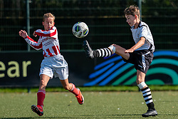Jens #9 of VV Maarssen  in action. VV Maarssen O14-1 played the first competition match against Geinoord JO14-1. Maarssen won 2-0 on September 5, 2020 at Daalseweide sports park Maarssen.