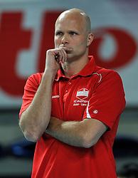 12-02-2012 VOLLEYBAL: BEKERFINALE EUPHONY ASSE LENNIK - NOLIKO MAASEIK: ANTWERPEN<br /> Noliko Maaseik wint vrij eenvoudig de beker van Belgie. In de finale waren zij met 25-21 25-18 en 25-19 te sterk voor Asse Lennik / Coach Marko Klok<br /> ©2012-FotoHoogendoorn.nl