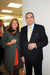 SIOBHAN BARNEY and GILBERT RIZK at reception to see the installation of Horse at Water by Nic Fiddian-Green at Marble Arch, London on 14th September 2010.