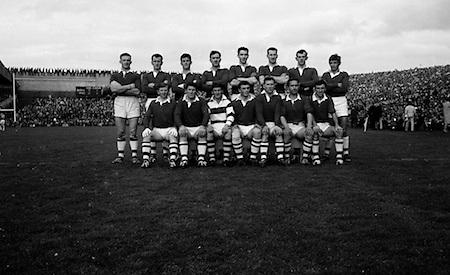 Group photograph of the Senior Cork at the All Ireland Senior Gaelic Football Final Cork v. Meath in Croke Park on the 24th September 1967. Meath 1-9 Cork 0-9.<br /> Back row (from left) Bernard O'Neill, K Dillon, Brian Murphy, C O'Sullivan, J Lucey, Miceal Burke, F Cogan, F Hayes. Front row (from left) M O'Loughlin, E Ryan, B Morgan, D Coughlan, E McCarthy, J O'Mahoney, E Philpott.