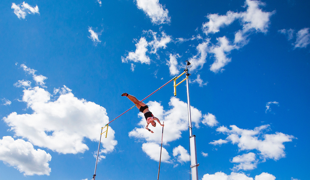 Shawnacy Barber of Canada clears the bar on his way to winning the gold medal for pole vault during the athletics at the Pan Am Games in Toronto, Tuesday July 21, 2015.    THE CANADIAN PRESS/Mark Blinch