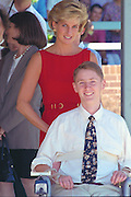Princess of Wales during her Sydney visit in 1996.  Diana, Princess of Wales, with Ben Robertson, during a visit to the Royal Rehabilitation Centre in Sydney, Australia.