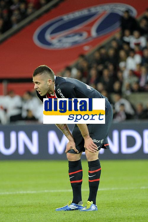 FOOTBALL - FRENCH CHAMPIONSHIP 2011/2012 - L1 - PARIS SAINT GERMAIN v STADE RENNAIS - 13/05/2012 - PHOTO JEAN MARIE HERVIO / REGAMEDIA / DPPI - DISAPPOINTMENT JEREMY MENEZ (PSG)