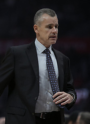 October 19, 2018 - Los Angeles, California, U.S - Coach, Billy Donovan of the Oklahoma Thunder during their NBA game with the Los Angeles Clippers  on Friday October 19, 2018 at the Staples Center in Los Angeles, California. Clippers defeat Thunder, 108-92. (Credit Image: © Prensa Internacional via ZUMA Wire)