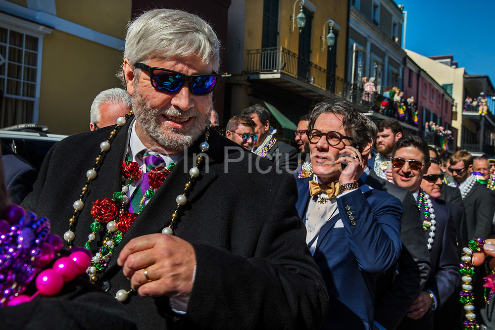 The Knights of Hermes Ladies Day getting ready for Mardi Gras on 21st February 2020 in the French Quarter, New Orleans, Louisiana, United States. Mardi Gras is the biggest celebration the city of New Orleans hosts every year. The magnificent, costumed, beaded and feathered party is laced with tradition and  having a good time. Celebrations are concentrated for about two weeks before and culminate on Fat Tuesday the day before Ash Wednesday and Lent.
