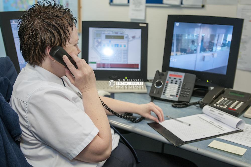 Control room of HMP Bronzefield, women's prison in Surrey