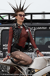 Punk Rock show host Erin Micklow was on hand at the RSD Moto Beach Classic. Huntington Beach, CA, USA. Sunday October 28, 2018. Photography ©2018 Michael Lichter.