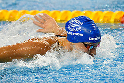 Sarah Sjostrom of Sweden compete in the Women 100m Butterfly Final of FINA/airweave Swimming World Cup Doha 2017 at the Hamad Aquatic Centre in Doha , capital of Qatar on October. 04, 2017.Sarah Sjostrom claimed the title with 55:55 second (Xinhua/Nikku (Credit Image: © Nikku/Xinhua via ZUMA Wire)