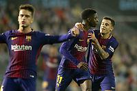 FC Barcelona's Denis Suarez, Ousmane Dembele and Philippe Coutinho celebrate goal during La Liga match. April 17,2018. (ALTERPHOTOS/Acero)
