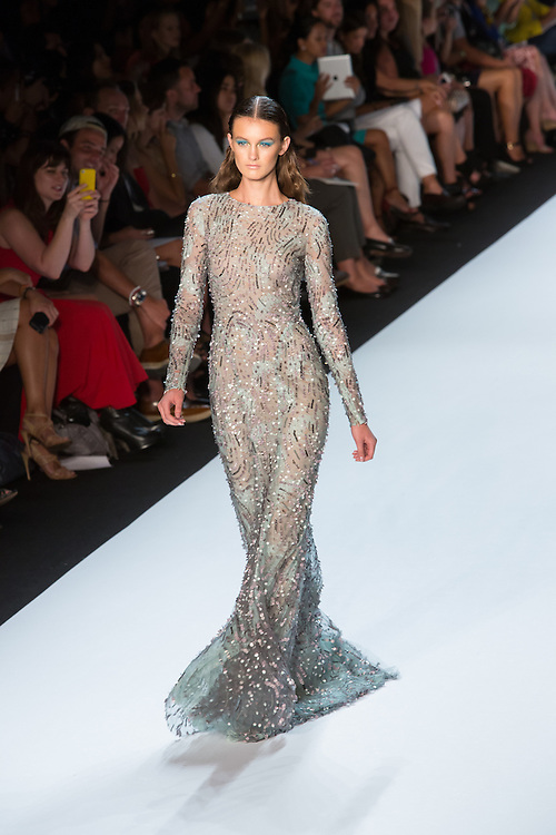 Pastel green gown with sequin details. By Monique Lhuillier at Spring 2013 Fall Fashion Week in New York.