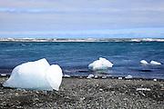 Melting glacial icebergs floating in the Jokulsarlon Lagoon, Iceland