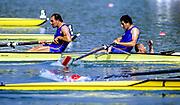 Barcelona Olympics 1992 - Lake Banyoles, SPAIN,  ITA M2+ Silver Medallist,  ABBAGNALE Carmine, ABBAGNALE Giuseppe, cox DI CAPUA Giuseppe. Photo: Peter Spurrier.       {Mandatory Credit: © Peter Spurrier/Intersport Images]<br /> .       {Mandatory Credit: © Peter Spurrier/Intersport Images]