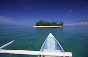 Outrigger canoe, Motu Tapu, Bora Bora, French Polynesia<br />