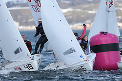 Day 1 of the RYA Youth National Championships 2013 held at Largs Sailing Club, Scotland from the 31st March - 5th April. ...54680, Harriet AYRE, Josie GUMMER, Stone SC, 420 Fleet..For Further Information Contact..Matt Carter.Racing Communications Officer.Royal Yachting Association.M: 07769 505203.E: matt.carter@rya.org.uk ..Image Credit Marc Turner / RYA..