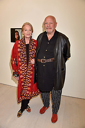Steven Berkoff and Clara Fisher at a preview of the 'From Selfie To Self-Expression' exhibition at The Saatchi Gallery, Duke Of York's HQ, King's Road, London, England. 30 March 2017.