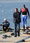 """Caversham  Great Britain.<br /> """"A man with decisions to make"""". Jurgan GROBLER prowls the boating pontoon, at the <br /> 2016 GBR Rowing Team Olympic Trials GBR Rowing Training Centre, Nr Reading  England.<br /> <br /> Tuesday  22/03/2016 <br /> <br /> [Mandatory Credit; Peter Spurrier/Intersport-images]"""