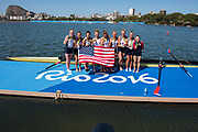 "Rio de Janeiro. BRAZIL     USA W8+. Gold Medalist Bow.  Emily REGAN, Kerry SIMMONDS, Amanda POLK,  Lauren SCHMETTERLING, Tessa GOBBO, Meghan<br /> MUSNICKI, Eleanor LOGAN,  Amanda ELMORE, and cox. Katelin SNYDER, at the, 2016 Olympic Rowing Regatta. Lagoa Stadium, Copacabana,  ""Olympic Summer Games""<br /> Rodrigo de Freitas Lagoon, Lagoa. Local Time 12:24:24  Saturday  13/08/2016<br /> [Mandatory Credit; Peter SPURRIER/Intersport Images]"