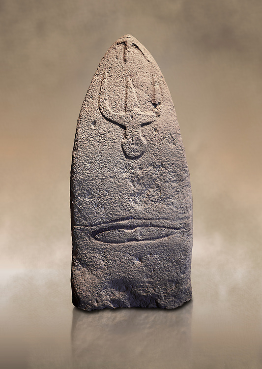 Late European Neolithic prehistoric Menhir standing stone with carvings on its face side. The representation of a stylalised male figure starts at the top with a long nose from which 2 eyebrows arch around the top of the stone. below this is a carving of a falling figure with head at the bottom and 2 curved arms encircling a body above. at the bottom is a carving of a dagger running horizontally across the menhir. Excavated from Genna Arrele II. Menhir Museum, Museo della Statuaria Prehistorica in Sardegna, Museum of Prehoistoric Sardinian Statues, Palazzo Aymerich, Laconi, Sardinia, Italy. Warm art background.<br /> <br /> Visit our PREHISTORIC PLACES PHOTO COLLECTIONS for more  photos to download or buy as prints https://funkystock.photoshelter.com/gallery-collection/Prehistoric-Neolithic-Sites-Art-Artefacts-Pictures-Photos/C0000tfxw63zrUT4