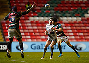 Sale Sharks centre Sam James chips the ball during a Gallagher Premiership Round 7 Rugby Union match, Friday, Jan. 29, 2021, in Leicester, United Kingdom. (Steve Flynn/Image of Sport)