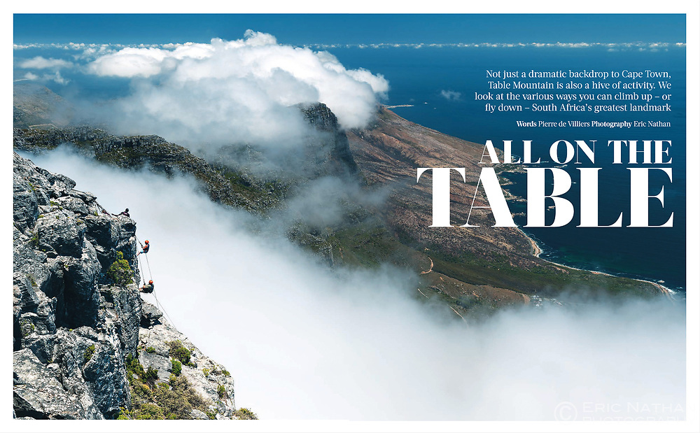 Opening DPS from my assignment about adventure sports on Table Mountain for Oryx magazine, inflight magazine of Qatar Airways.