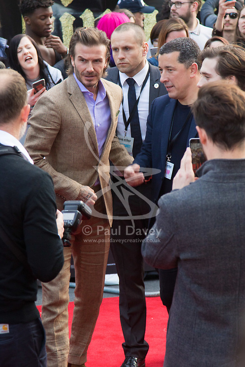 London, May 10th 2017. David Beckham attends the European premiere of King Arthur - Legend of the Sword at the Cineworld Empire in Leicester Square.