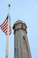 United States, California, San Francisco. The lighthouse on top of the Alcatraz island.