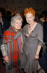 Left to right, Vivienne Westwood's mother and VIVIENNE WESTWOOD at the launch of 'Grand Classics:Films with Style' series in London hosted by Vivienne Westwood at The Electric Cinema, Portobello Road, London W11 on 20th March 2006.<br />