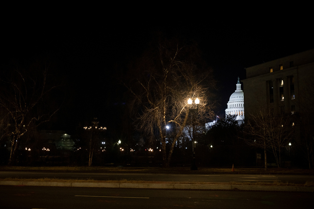 Washington DC, USA - January 19, 2021: The U.S. Capitol Building on the night before Joseph Biden's inauguration.