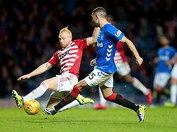 Rangers' Eros Grezda (R) vies with Hamilton Academical's Ziggy Gordon (L) during the Ladbrokes Scottish Premiership match at Ibrox Stadium, Glasgow.