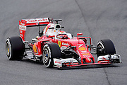 March 1, 2016 - Barcelona, Spain - <br /> <br /> The Finnish driver, Kimi Raikkonen, from Ferrari Formula One team, driving his car during the first day of Formula One tests days in Barcelona, 1st of March , 2016. <br /> ©Exclusivepix Media