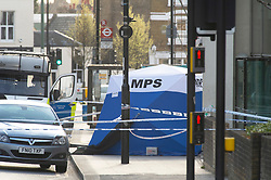 © Licensed to London News Pictures 11/04/2021. Sydenham, UK. A Met Police investigation has been launched after a 17 year old male was fatally stabbed in Sydenham, South East London last night. A forensic tent can be seen with a large police cordon in place this morning. Photo credit:Grant Falvey/LNP