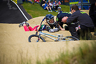 #171 (O'KEEFFE Teagan) RSA takes a small fall at the UCI BMX Supercross World Cup in Papendal, Netherlands.