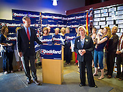 08 OCTOBER 2010 - PHOENIX, AZ: Terry Goddard listens to Lilly Ledbetter (the Lilly Ledbetter Fair Pay Act of 2009 is named after her) at Terry Goddard's campaign headquarters in downtown Phoenix Friday, Oct. 8.  Goddard lost the election to sitting Governor Jan Brewer, a conservative Republican.     PHOTO BY JACK KURTZ