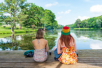 People soaking up the relaxed atmoshphere at the Also Festival 2021 at Cpmton Verney. Featuring Talks, Comedy, Music, Wild Swimming and much more. An excellent festival that offers so much.photo by Mark anton Smith