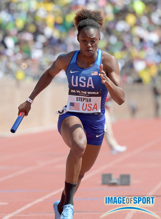 Apr 28, 2018; Philadelphia, PA, USA; Jaide Stepter runs the first leg on the USA Red women's 4 x 400m relay that won the USA vs. The World race in 3:26.73 during the 124th Penn Relays at Franklin Field.