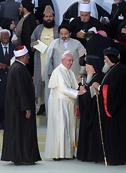 Pope Francis greets Archbishop of Constantinople and Ecumenical Patriarch Bartholomew I during the '30th World Day of Prayer for Peace' a inter-religious meeting in the Italian pilgrimage town of Assisi, Italy on September 20, 2016. Pope Francis welcomed some 450 leaders representing a rainbow of faiths to the hilltop Italian town of Assisi to commemorate the 30th anniversary of a daylong prayer for peace here called by Pope John Paul II in 1986. Photo by Eric Vandeville/ABACAPRESS.COM